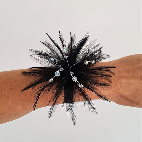 Black Feather Wrist corsage on an elasticated band 271819