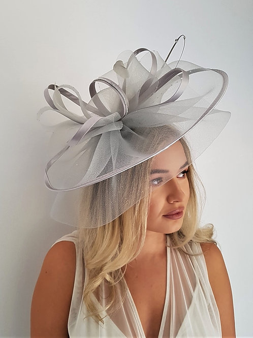 Large Crin Fascinator Hat trimmed with satin & Rhinestone trim on a band
