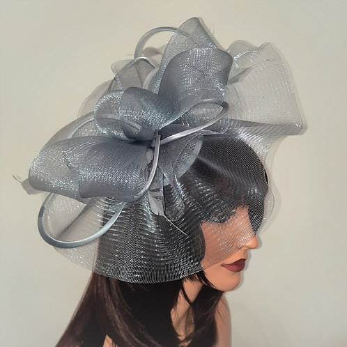 Silver Grey Crin Fascinator Hat with satin loopsmounted on to a band 100621