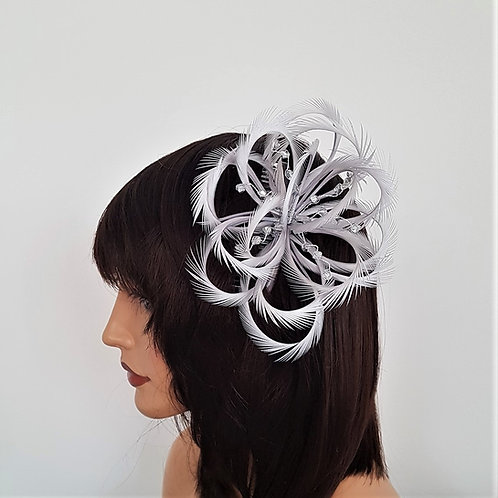 Light Silver Looped Fascinator comb with crystal clear beading 2818282
