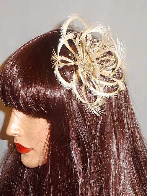 Nude Beige Looped Fascinator comb with crystals