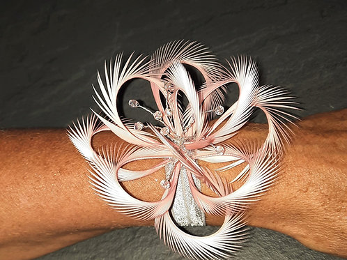 Pink handmade looped biot Wrist Corsage with crystals on elasticated band