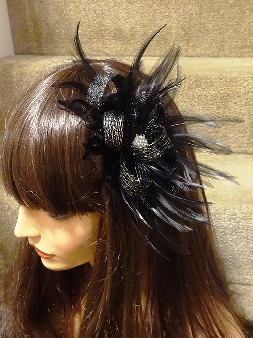 Black & Silver sparkle Fascinator Comb with Diamante Centre 487888