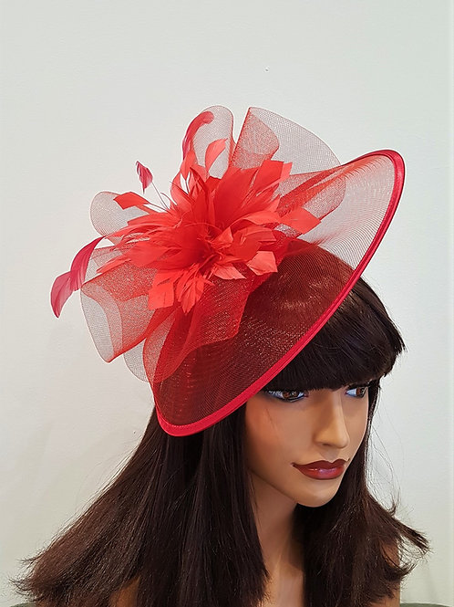 Red Crin Fascinator Hat edged with satin on a band 389276