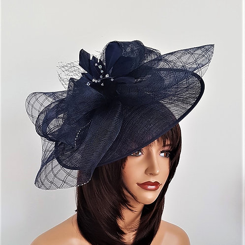 Navy Blue Hat with Crystals on a band finished with silver sparkle 228861