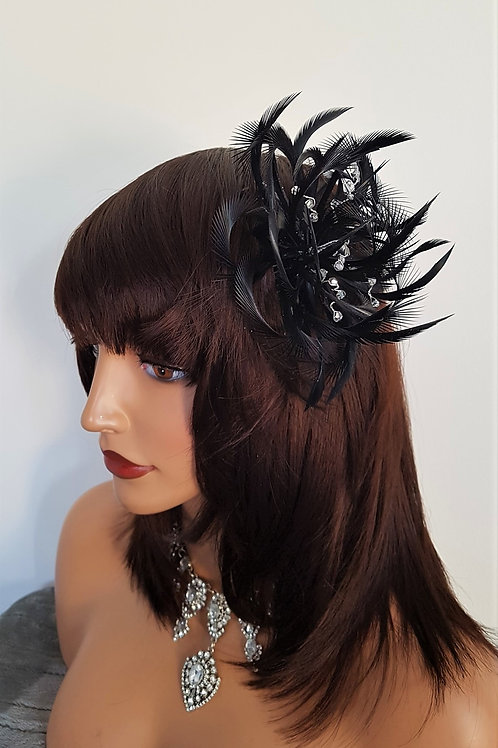 Black Looped Fascinator Comb with crystals 5571999