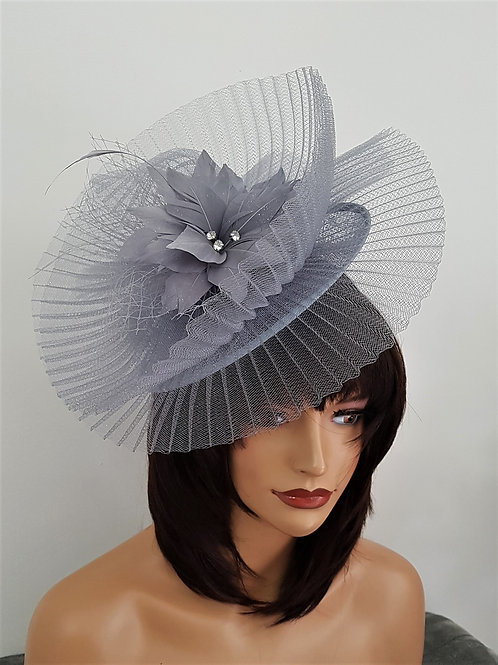 Silver / Grey pleated Crin Fascinator hatinator on band