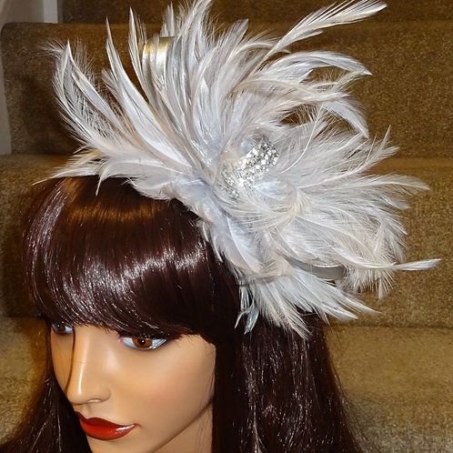 Light Silver Feather Fascinator Band with Jewel Centre 4445556