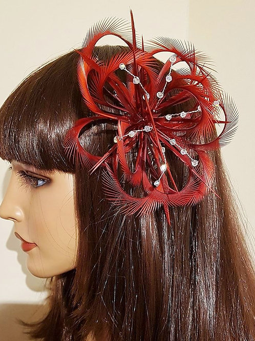 Claret Red Looped Fascinator comb with crystals