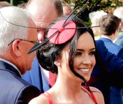 Red & Black Quill Fascinator