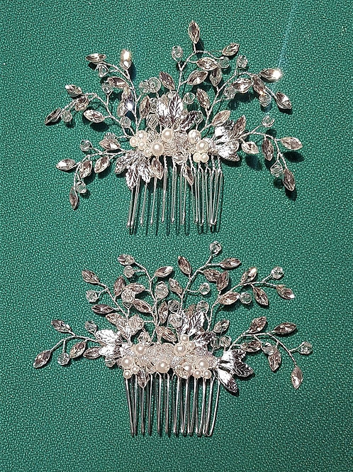 Silver Rhinestone Crystal Comb x1 with pearl beading
