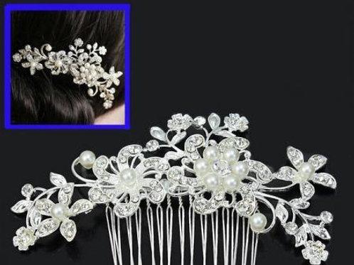 Silver Pearl Hair Comb