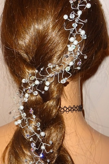 Silver Crystal & Pearl Hair Vine Fascinator for long hair