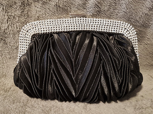 Black satin pleated bag with Rhinestone crystals & strap 337711