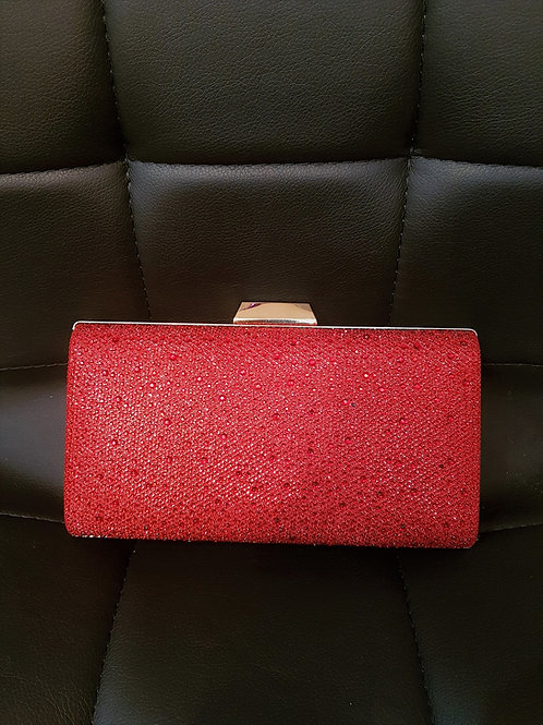 Red hard cased Bag with a gold trim 672956