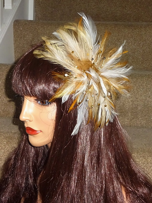 Gold, Mustatrd, Ivory Feather and Crystal Fascinator comb 457854