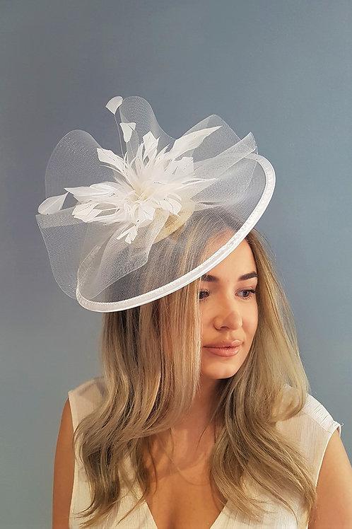 Ivory Sheer Fascinator Hat on Band 464578