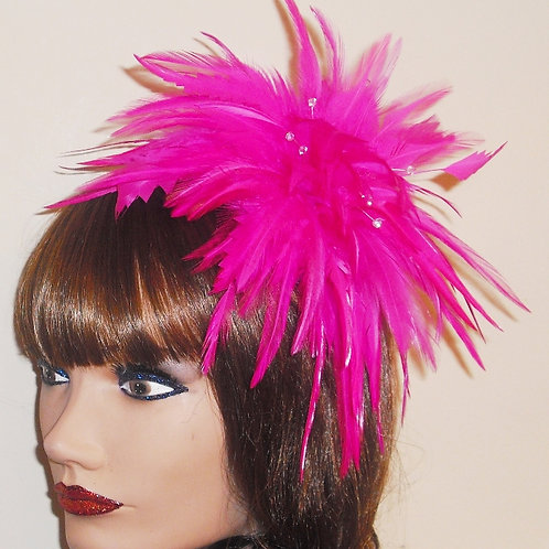 Vivid Pink Feather Fascinator Comb