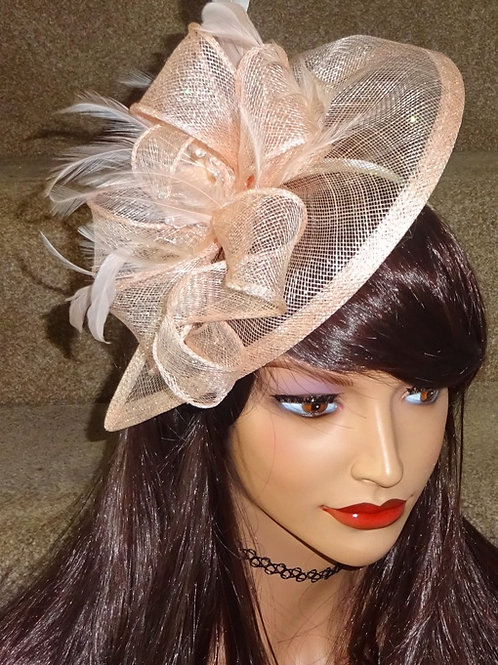Pale Peach Teardrop Sinamay Fascinator with crystals and sparkle on band