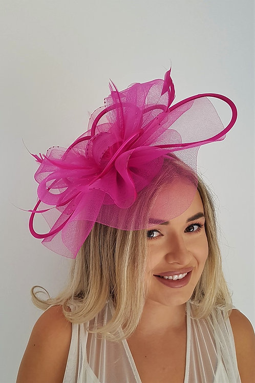 Pink Fascinator Hat with satin loops, on a band 778830