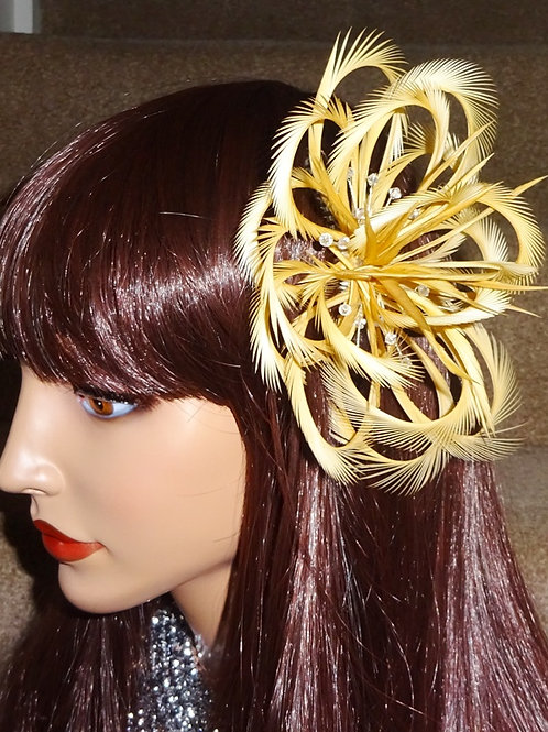 Gold Looped Fascinator Comb with Crystals 1919821