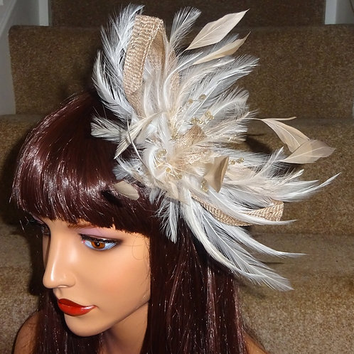 Nude Beige & Ivory Fascinator Comb with Crystals 789874