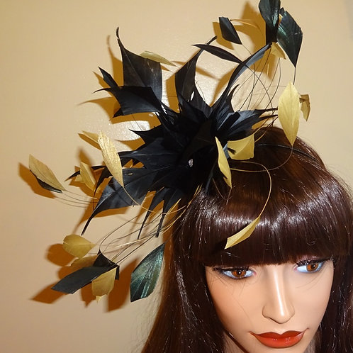 Mustard Gold & Black Feather Fascinator Band 37373