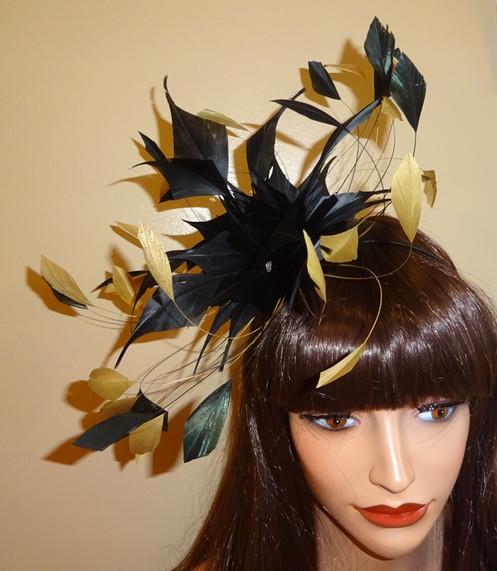 4f63b818fb3e7 Mustard Gold   Black Feather Fascinator Band 37373