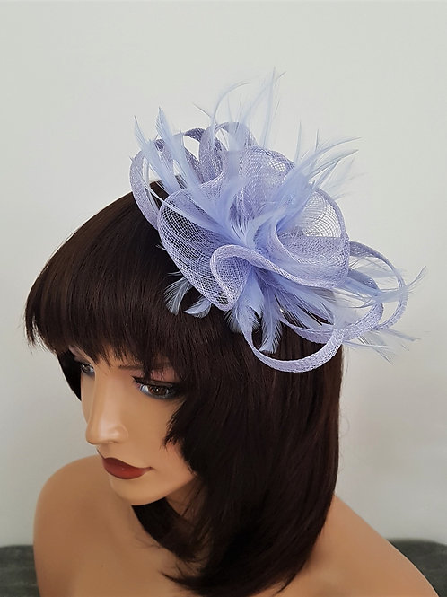 Lilac Sinamay fascinator with feathers 1726111