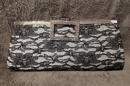 Black & Silver Lace & Diamante clutch Bag with chain strap