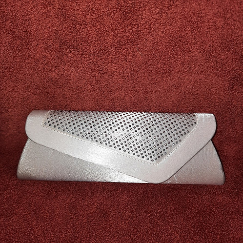 Silver satin clutch bag with strap 0706211122