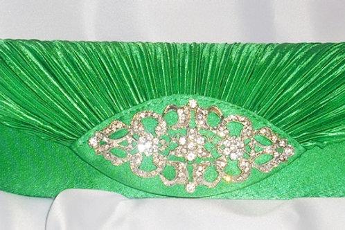 Emerald Green Clutch Bag with Rhinestone Centre