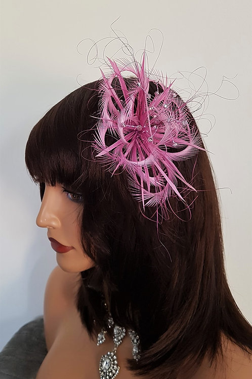 Light Magenta Looped Fascinator comb with crystals