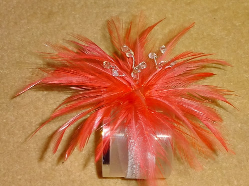 Flamingo Pink Coral Wrist Corsage on elasticated silver band