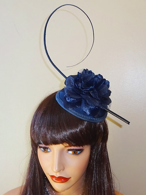 Blue Mini Hat Fascinator with quill Feather on a clip