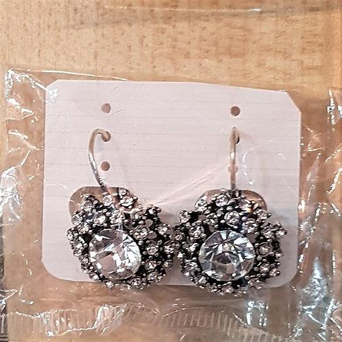 Black & Silver Jewelled Earrings (Pierced)