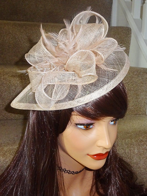 Nude Beige Teardrop Sinamay Fascinator Hat with sparkle on a band