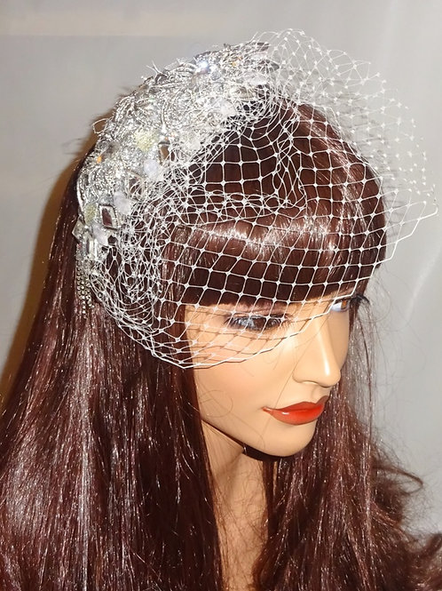 Silver Jewel Diamante Teardrop Headpiece with veiling