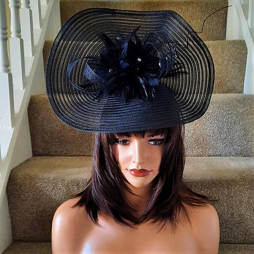 Large Black upturned Fascinator Hat on band with curled quill 23621