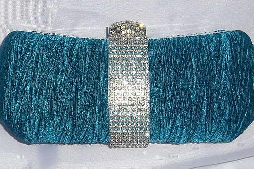 Teal / Deep Turquoise Rhinestone Clutch Bag 195243