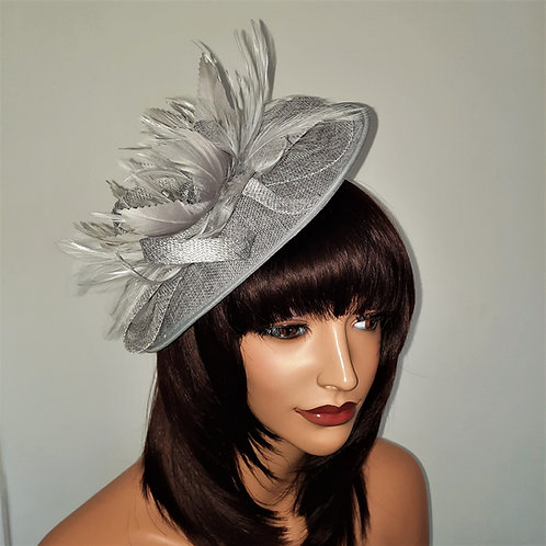 Silver Fascinator hat on a band with silver crystals 30721