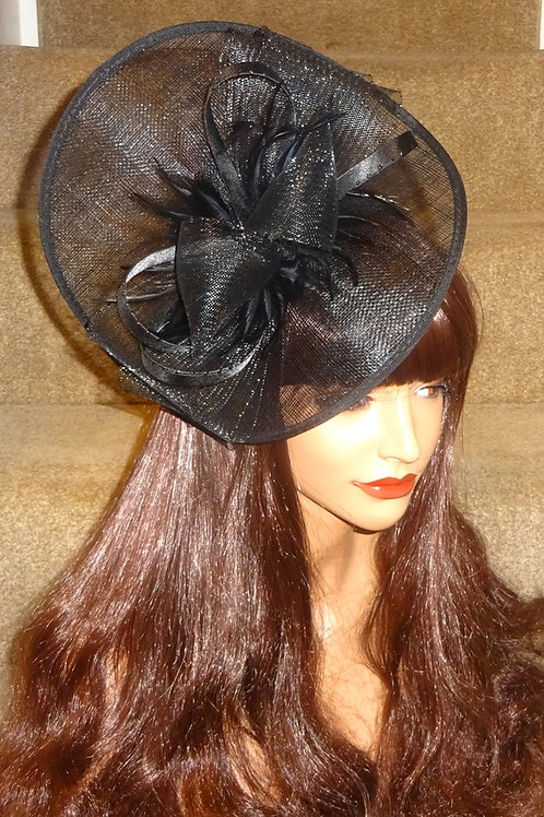Black Sinamay folder Hat Fascinator on band with back detail