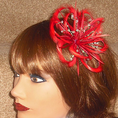 Red Looped Fascinator Comb with Crystals 33718
