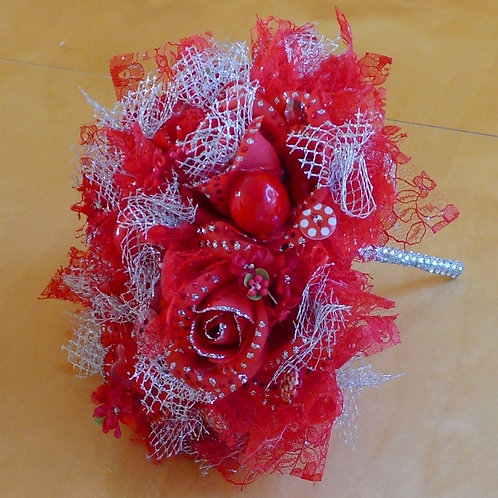Red & Silver Rose  & Cherry Bouquet