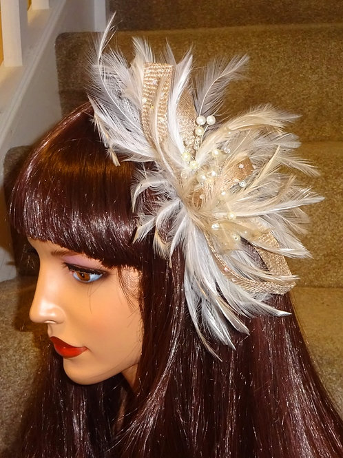 Nude Beige & Ivory Fascinator Comb with Pearls 1189874