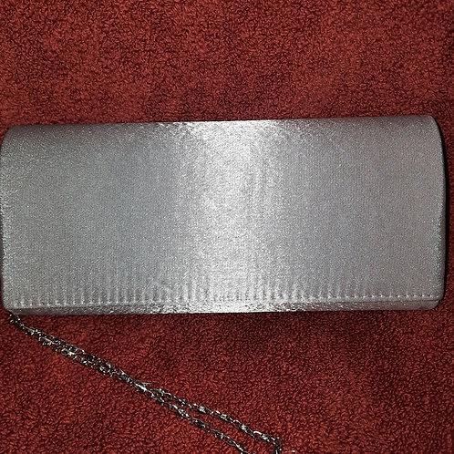 Plain silver satin bag with strap 070621