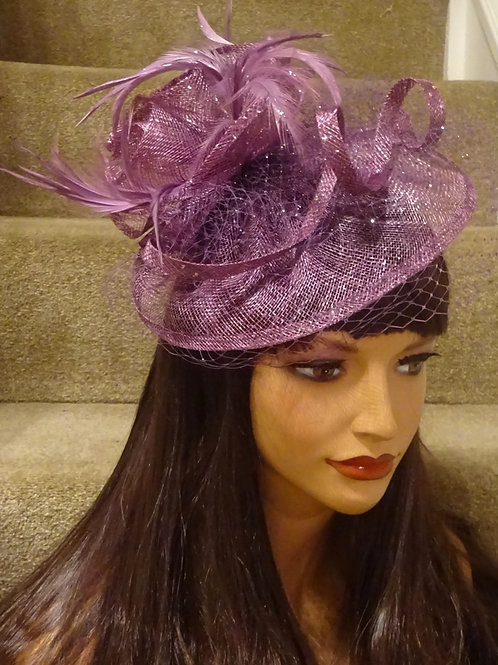 Light Plum Sinamay Fascinator Hat with veiling on Band