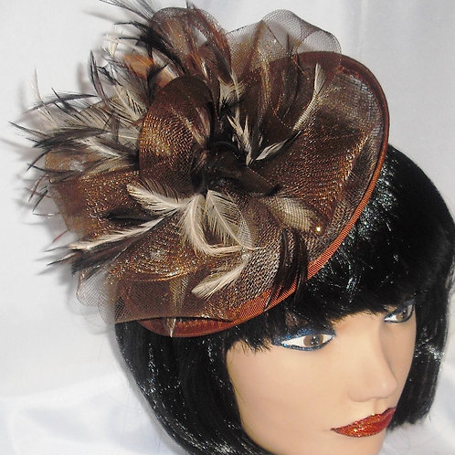 Brown Sinamay & Crin Saucer Hat on Band