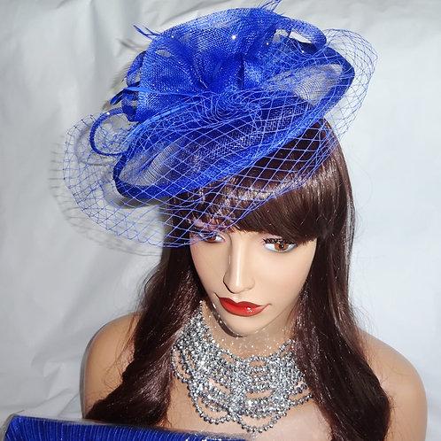 Cobalt Blue Fascinator Hat with Veiling on band 58568
