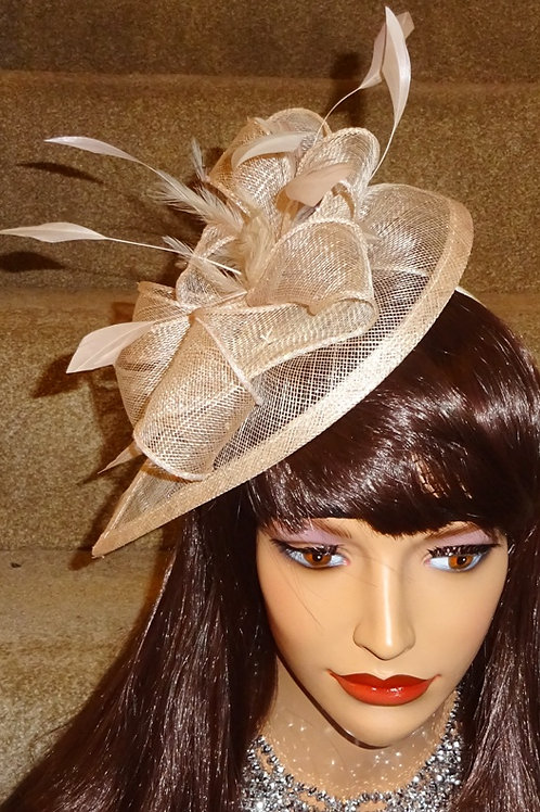 Nude Teardrop Fascinator Hat on Band 989767
